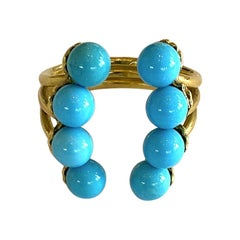 Yvonne Leon's Turquoise Open Ring in 18 Karat Yellow Gold