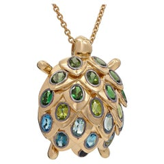 Yvonne Leon's Turtle Necklace in 18 Carat Yellow Gold Multi