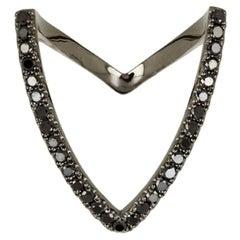 Yvonne Leon's Viviane Ring V-Shape in Black Diamonds and Black Gold 18 Carat