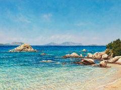 """A Cala Ghjlgolu / Mediterranean Blues (Sardinia),"" Acrylic Painting"