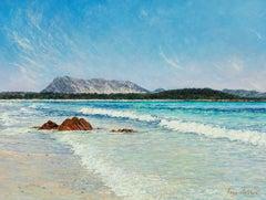 """La Tavolara / Mediterranean Blues (Sardinia),"" Acrylic Painting"