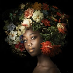 ''Fading Flowers Rose'' Portrait of Girl with 17th Century Flower Still-Life