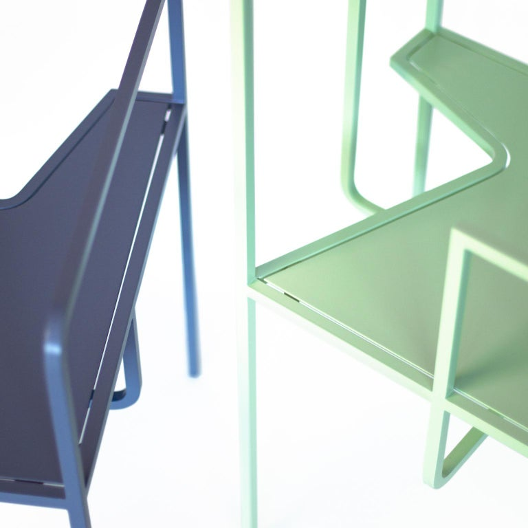 Z Contemporary Chair in Metal For Sale 1