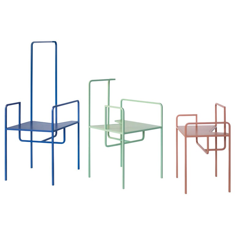 Z Contemporary Chair in Metal For Sale