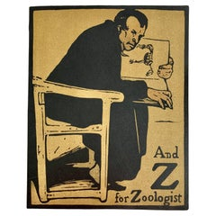 """Z for Zoologist """"An Alphabet"""" by William Nicholson, First Edition, London, 1898"""