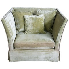 Z Gallerie Oversized Olive Green Corduroy Square Easy Club Chair Nailhead Trim