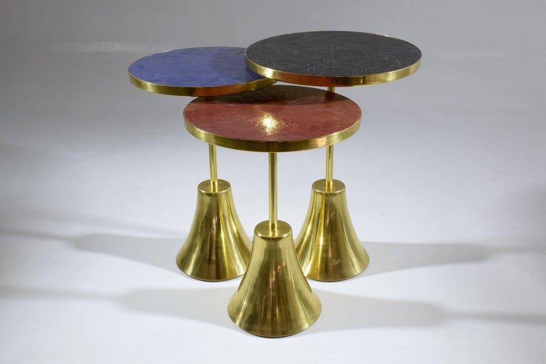 Hand-Carved Z-I-I Contemporary Brass Mosaic Side Table, Flow Collection For Sale