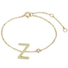 Z Initial Bezel Chain Anklet