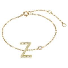 Z Initial Bezel Chain Bracelet