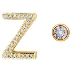 Z Initial Bezel Mismatched Earrings