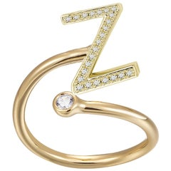 Z-Initial Bezel Wire Ring