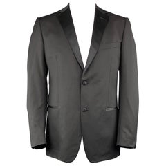 Z ZEGNA 44 Long Black Cotton / Rayon Suit