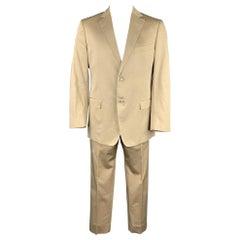 Z ZEGNA City Size 44 Regular Khaki Cotton / Silk Notch Lapel Suit
