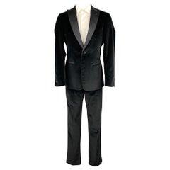 Z ZEGNA Size 40 Regular Black Cotton Velvet Peak Lapel Tuxedo Suit