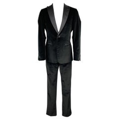 Z ZEGNA Size 40 Regular Black Cotton Velvet Peak Lapel Tuxedo Suit