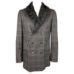 Z ZEGNA Size 42 Charcoal Plaid Wool Double Breasted Coat