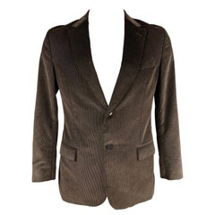 Z ZEGNA Size 42 Regular Brown Corduroy Cotton Notch Lapel Sport Coat