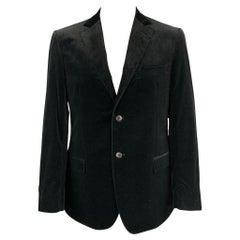 Z ZEGNA Size 44 Black Cotton Velvet Notch Lapel Sport Coat