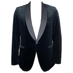 Z ZEGNA Size 44 Navy Velvet Shawl Collar Dinner Jacket Blazer