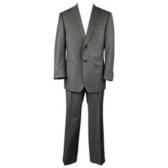Z ZEGNA Size 44 Regular Charcoal Wool / Mohair Notch Lapel Suit