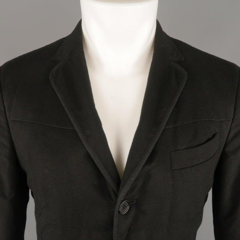 c19fed626e Z ZEGNA US 38 Black Quilted Silk Notch Lapel Patch Pocket Sport Coat