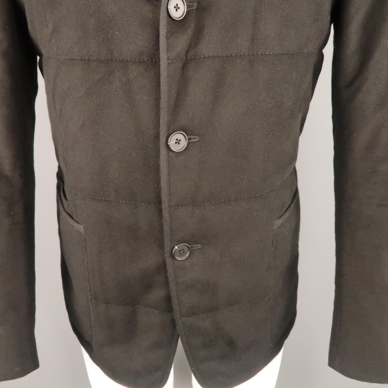 5e81d5e44b Z ZEGNA US 38 Black Quilted Silk Notch Lapel Patch Pocket Sport Coat