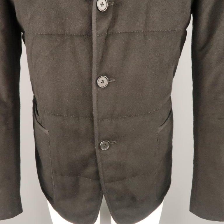dad03115e9 Z ZEGNA US 38 Black Quilted Silk Notch Lapel Patch Pocket Sport Coat