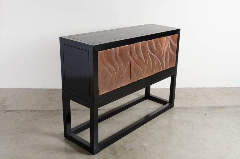 Lacquered Za Xian 3-Door Cabinet on Stand, Antique Copper by Robert Kuo, Limited Edition For Sale