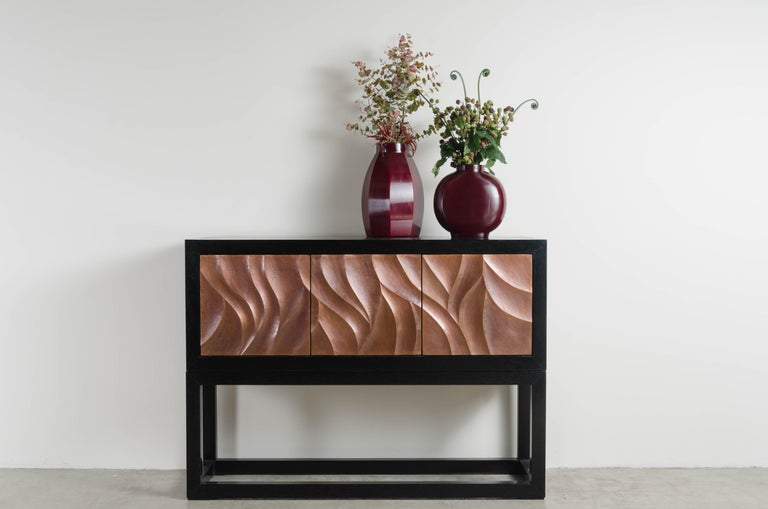 Za Xian 3-Door Cabinet on Stand, Antique Copper by Robert Kuo, Limited Edition For Sale 1