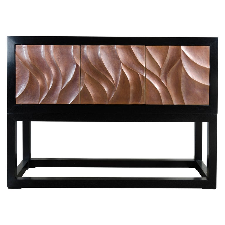 Za Xian 3-Door Cabinet on Stand, Antique Copper by Robert Kuo, Limited Edition For Sale