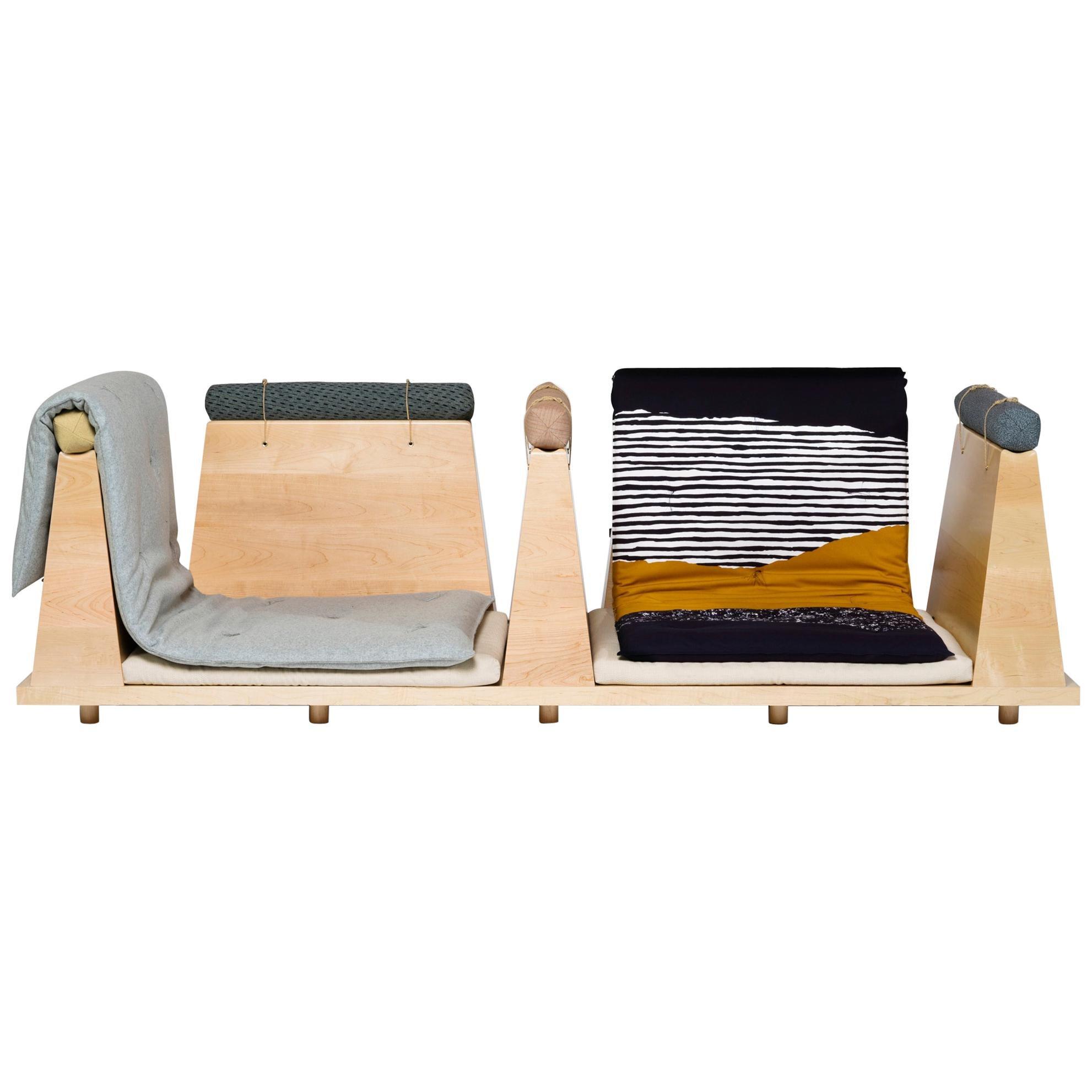 Zabuton Sofa, Handmade Japanese Futon on Modular Maple Frame