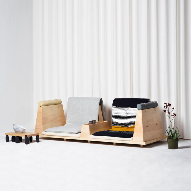 Contemporary Zabuton Sofa, Handmade Japanese Futon on Modular Maple Frame, Kvadrat For Sale