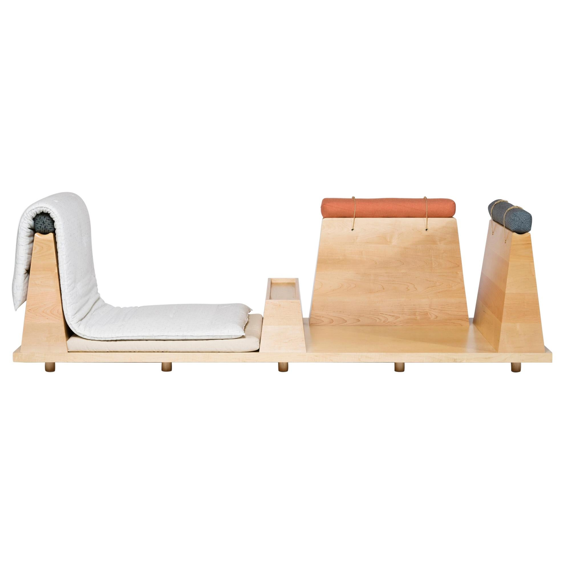 Zabuton Sofa, Handmade Japanese Futon on Modular Maple Frame, Kvadrat