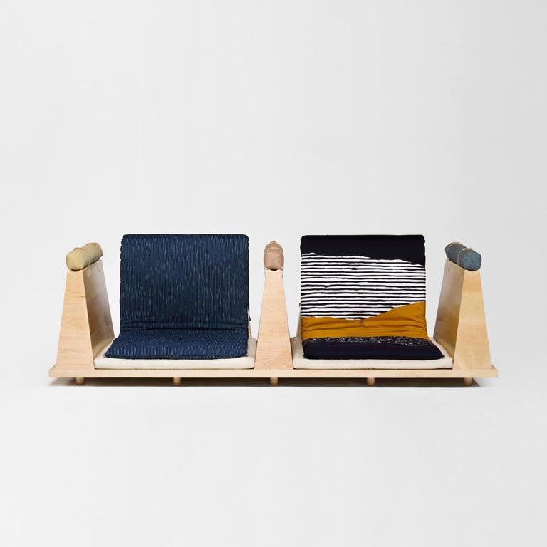 Zabuton Sofa, Handmade Japanese Futon on Modular Maple Frame, Kvadrat, Sou Sou For Sale 5