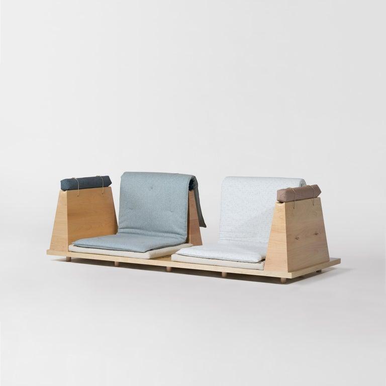 Zabuton Sofa, Handmade Japanese Futon on Modular Maple Frame, Kvadrat, Sou Sou For Sale 8