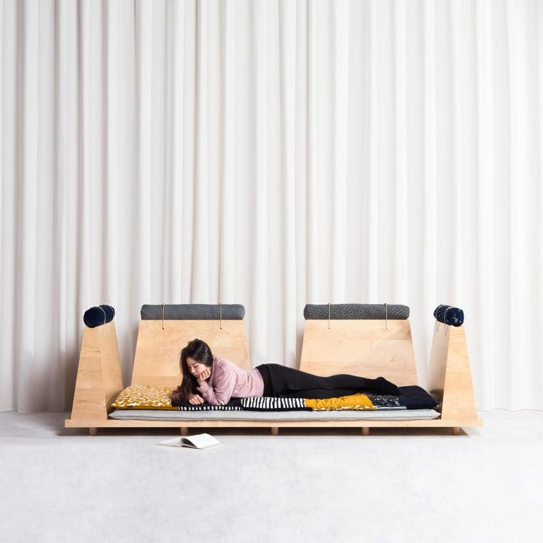 Zabuton Sofa, Handmade Japanese Futon on Modular Maple Frame, Kvadrat, Sou Sou For Sale 10