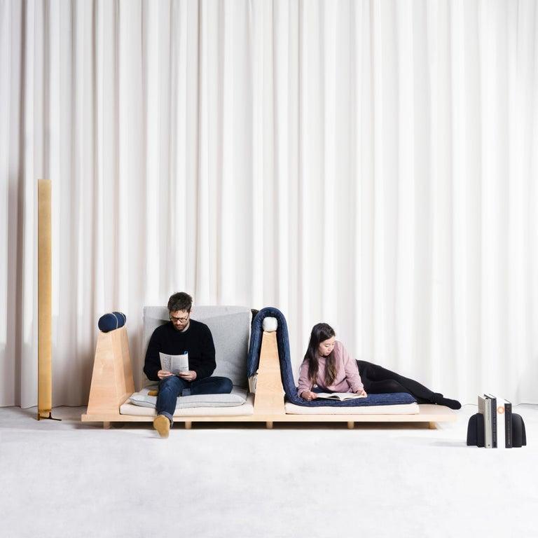 Zabuton Sofa, Handmade Japanese Futon on Modular Maple Frame, Kvadrat, Sou Sou For Sale 12