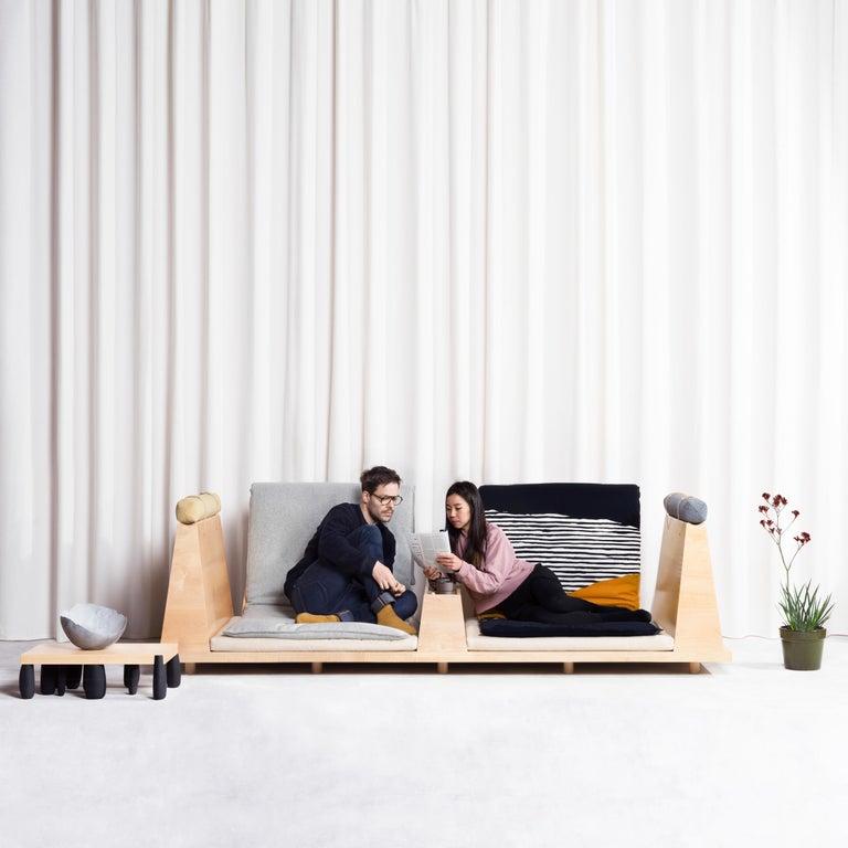 Modern Zabuton Sofa, Handmade Japanese Futon on Modular Maple Frame, Kvadrat, Sou Sou For Sale