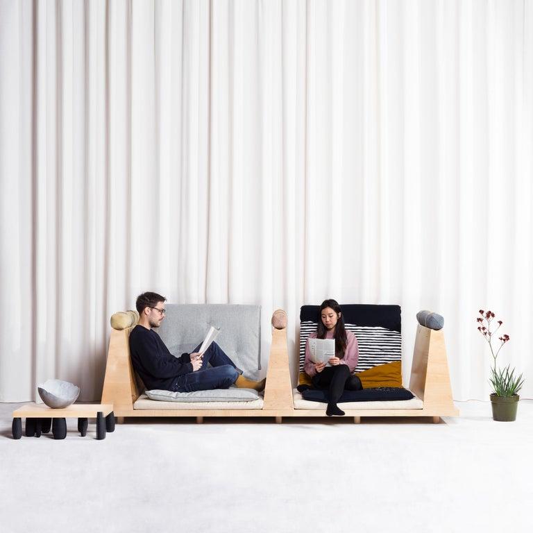 Zabuton Sofa, Handmade Japanese Futon on Modular Maple Frame, Kvadrat, Sou Sou In New Condition For Sale In Oakland, CA