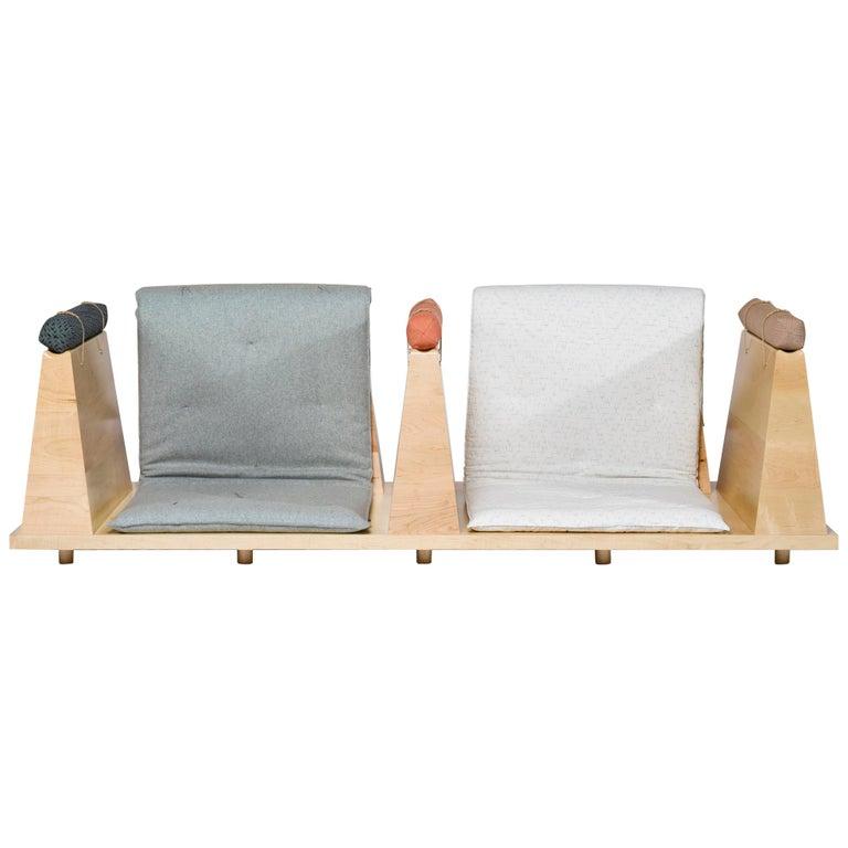 Zabuton Sofa, Handmade Japanese Futon on Modular Maple Frame, Kvadrat, Sou Sou For Sale