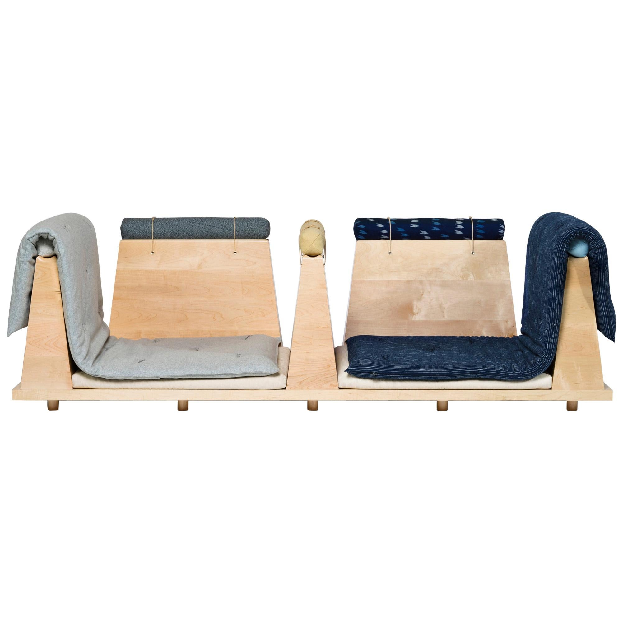 Zabuton Sofa, Handmade Japanese Futon on Modular Maple Frame, Kvadrat, Sou Sou