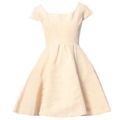 ZAC POSEN 100% silk beige  U-neck cap sleeve paneled contruction flare dress US0