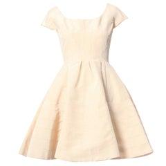 ZAC POSEN cream beige 100% silk cap sleeve paneled constructed flared dress US0