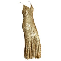 Zac Posen Gold Sequin Embellished Mermaid Evening Gown in Hard to Find Size 12