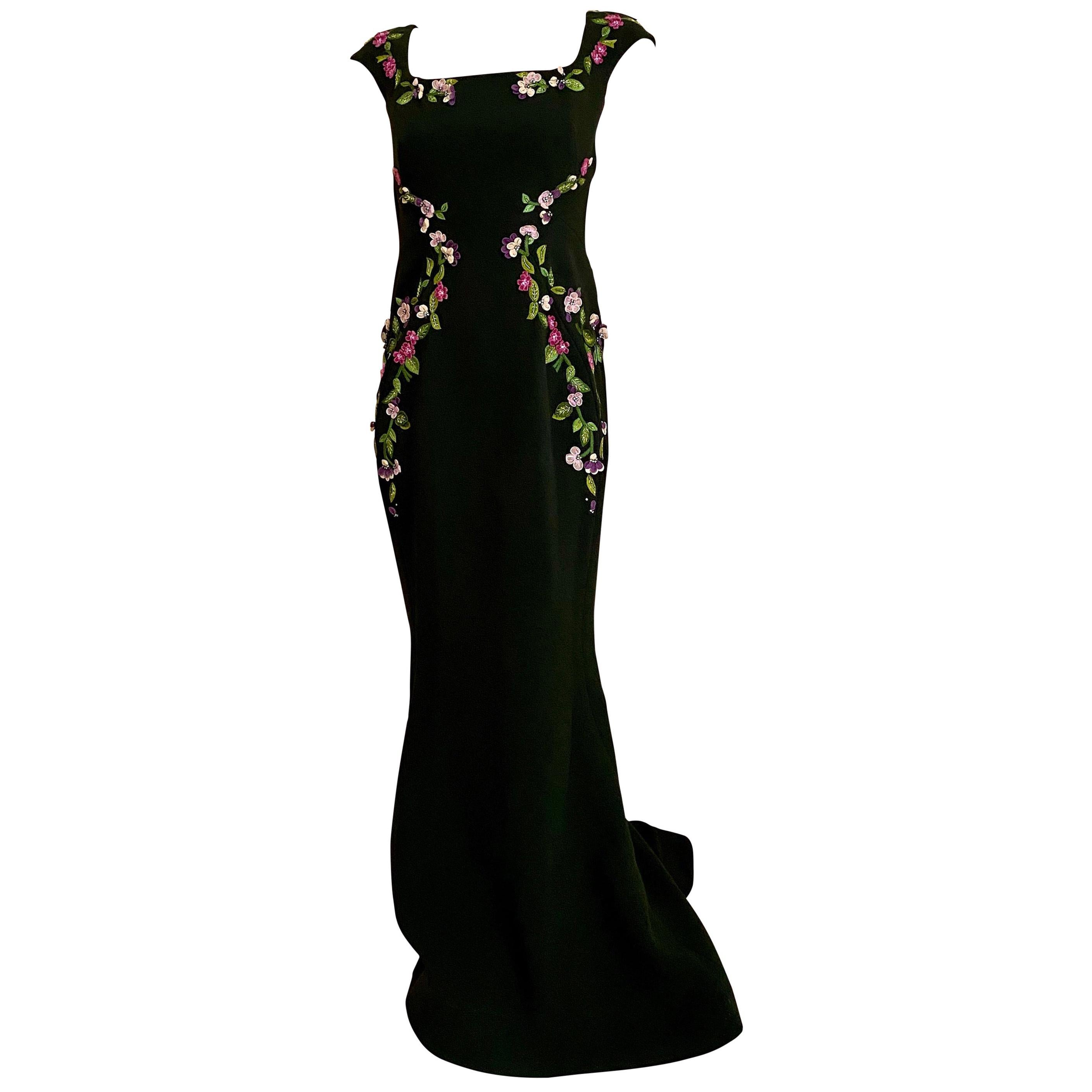 Zac Posen Green Gown with Floral Embroidery