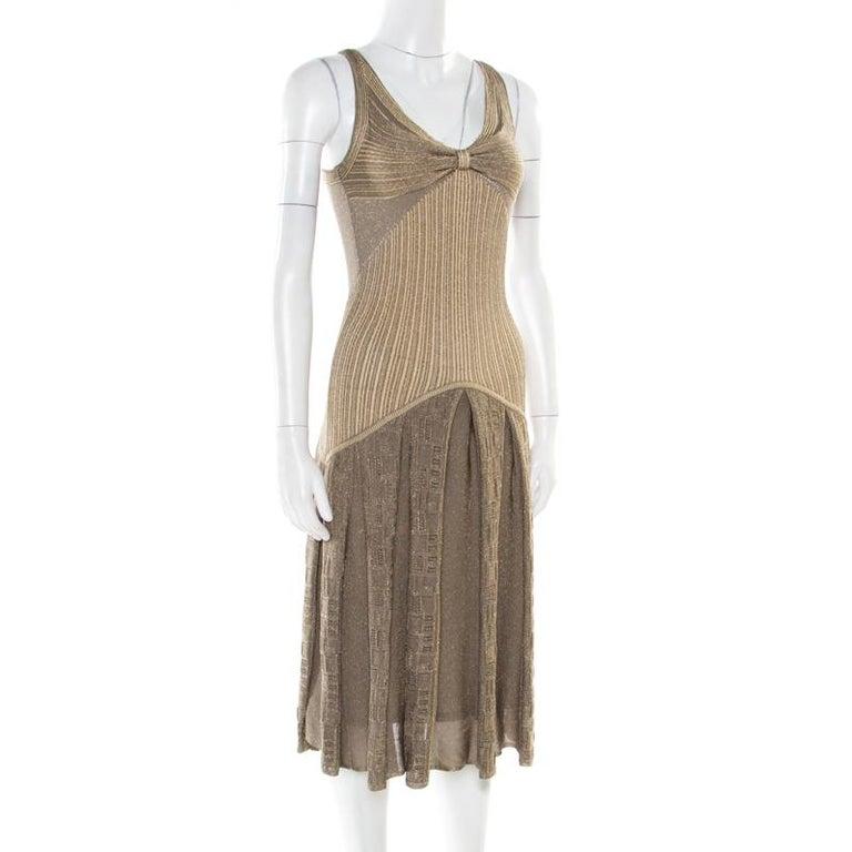Brown Zac Posen Metallic Peforated Knit Fit and Flare Sleeveless Dress M