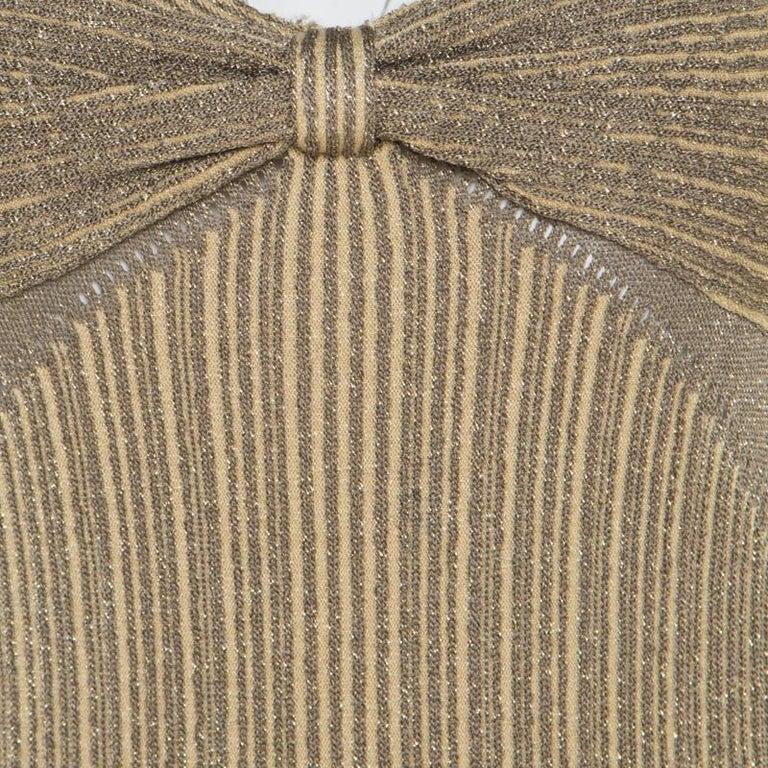 Zac Posen Metallic Peforated Knit Fit and Flare Sleeveless Dress M In Good Condition In Dubai, Al Qouz 2