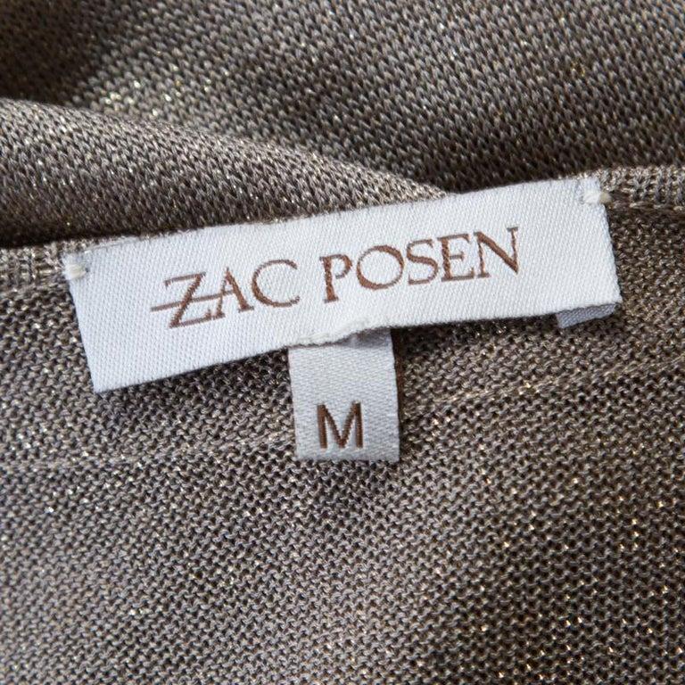 Women's Zac Posen Metallic Peforated Knit Fit and Flare Sleeveless Dress M