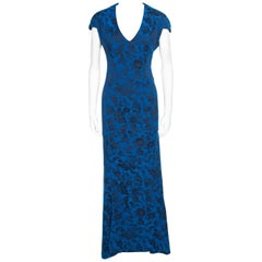Zac Posen Royal Blue Floral Jacquard Cap Sleeve Mermaid Gown XL
