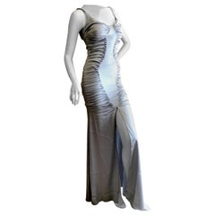 Zac Posen Ruched Silver Silk Mermaid Gown with High Slit